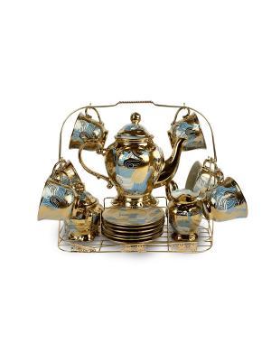 Чайный набор фарфор 18 предметов Florance. Цвет: золотистый, белый, голубой