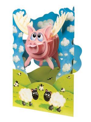 Объемная открытка Хрюшка Даринчи. Цвет: розовый