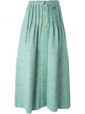 Трикотажная юбка на пуговицах Courrèges Vintage. Цвет: зелёный