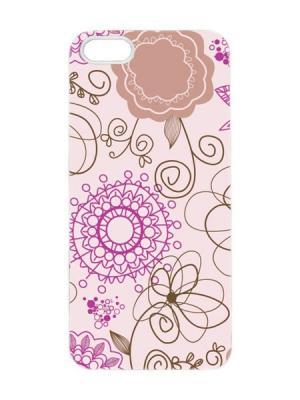 Чехол для iPhone 5/5s Лиловый узор Арт. IP5-086 Chocopony. Цвет: розовый, черный