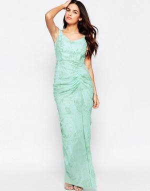 VLabel London Платье макси с оборкой спереди India. Цвет: зеленый