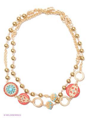 Колье Milana Style. Цвет: красный, золотистый, голубой