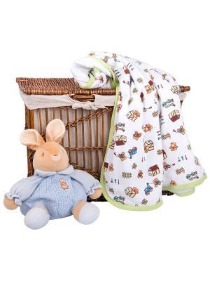Одеяло трикотажное 75х90 Мишка строитель DAISY. Цвет: синий, темно-красный, салатовый, светло-желтый, оранжевый, белый