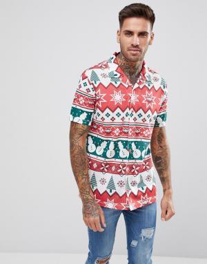 LDN DNM Рубашка в новогоднем стиле с короткими рукавами. Цвет: белый