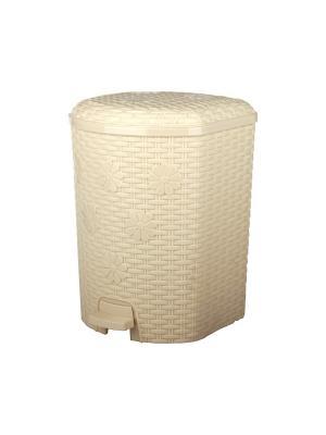 Контейнер для мусора Плетёнка 12л. с педалью (слоновая кость) Альтернатива. Цвет: светло-бежевый, бежевый