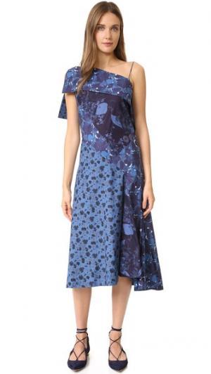 Платье с открытым плечом Zac Posen. Цвет: синий мульти