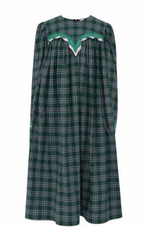 Хлопковое платье свободного кроя в клетку Natasha Zinko. Цвет: зеленый