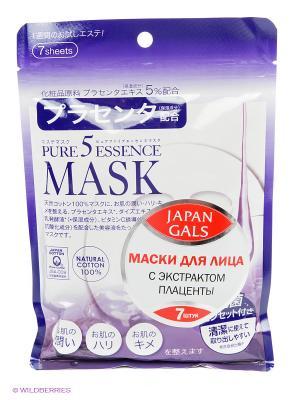 Japan Gals Маска с плацентой Pure 5 Essential 7 шт. Цвет: белый