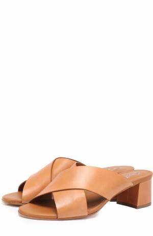 Кожаные мюли на устойчивом каблуке Tod's. Цвет: светло-коричневый