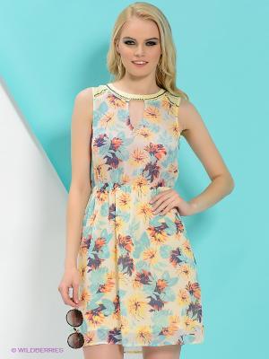 Платье PEPE JEANS LONDON. Цвет: голубой, желтый
