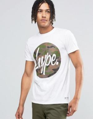 Hype Футболка с камуфляжным логотипом. Цвет: белый