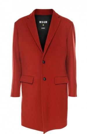Шерстяное однобортное пальто MSGM. Цвет: красный