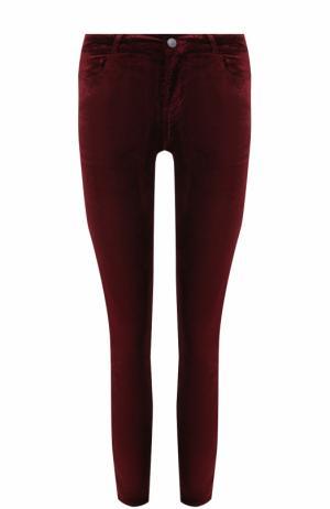 Укороченные бархатные брюки-скинни Paige. Цвет: бордовый