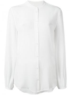 Рубашка с узким воротником-стойкой Equipment. Цвет: белый