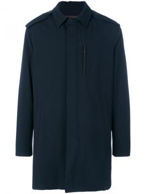 Пальто с потайной планкой Ermenegildo Zegna. Цвет: синий