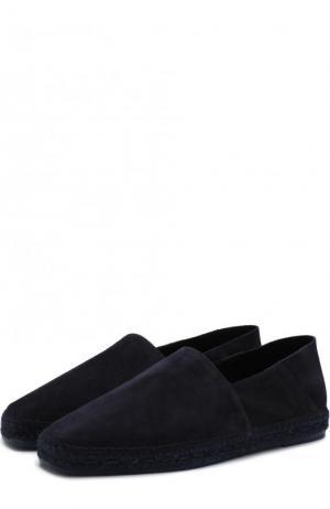 Замшевые эспадрильи на джутовой подошве Tom Ford. Цвет: темно-синий