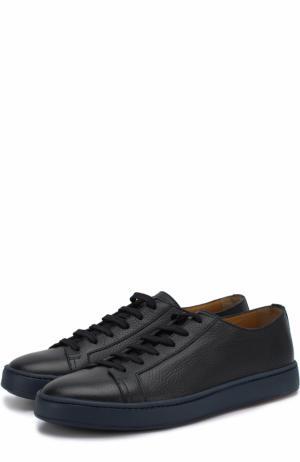 Кожаные кеды на шнуровке Santoni. Цвет: темно-синий