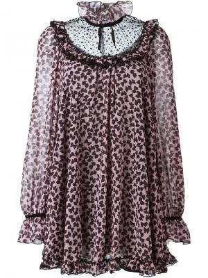 Платье-туника с бантом Giamba. Цвет: розовый и фиолетовый