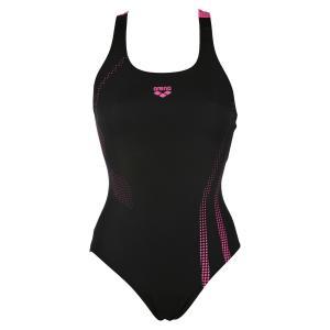 Купальник цельный для занятий в бассейне ARENA. Цвет: черный/ розовый