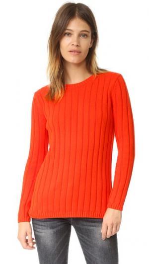 Рубчатый свитер с округлым вырезом и вставкой 525 America. Цвет: мандариновый