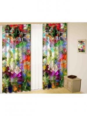 Комплект шторы, Модерн 2, 150*270 (2) + тюль МарТекс. Цвет: зеленый, красный, фиолетовый