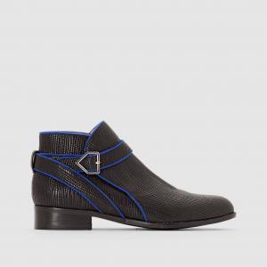 Ботинки кожаные с ремешком Alidiane, анималистичный рисунок MELLOW YELLOW. Цвет: черный