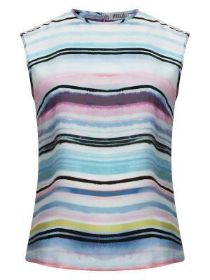 Блузка с акварельным принтом APRELLE. Цвет: светло-голубой, бледно-розовый, черный