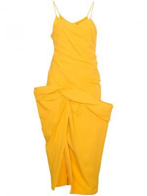Платье на тонких лямках с драпированным подолом Jacquemus. Цвет: жёлтый и оранжевый