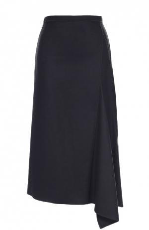 Шерстяная юбка-миди асимметричного кроя Moncler. Цвет: черный