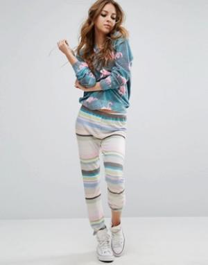 Wildfox Трикотажные штаны в полоску. Цвет: мульти