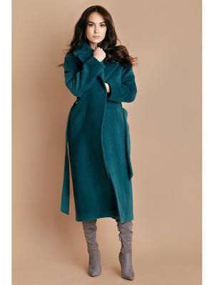 Пальто изумрудное Welldress. Цвет: темно-зеленый