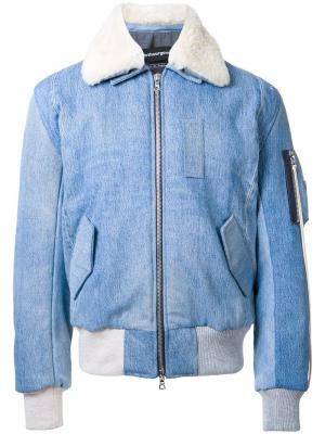Джинсовая куртка-бомбер Clothsurgeon. Цвет: синий