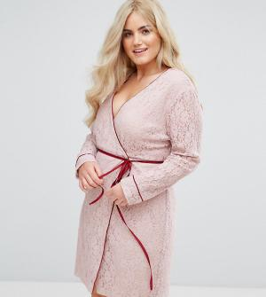 Alice & You Кружевное платье с длинными рукавами и запахом. Цвет: розовый