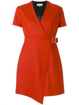 Платье с запахом и V-образным вырезом Carven. Цвет: красный