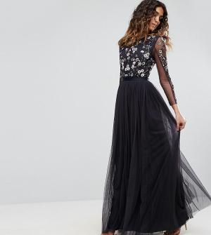 Needle & Thread Платье из тюля. Цвет: темно-синий
