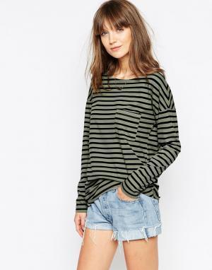 The Furies NOH Long Sleeve Striped Pocket T-Shirt. Цвет: зеленый чай