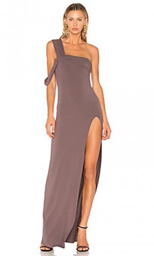 Макси платье с открытым плечом Baja East. Цвет: серый
