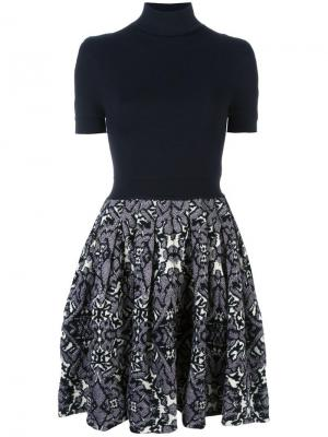 Расклешенное платье с отворотной горловиной Balenciaga Vintage. Цвет: синий