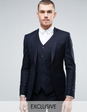 Noak Супероблегающий пиджак. Цвет: темно-синий