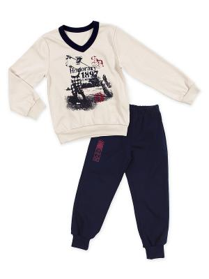 Комплект одежды Апрель. Цвет: бежевый, синий