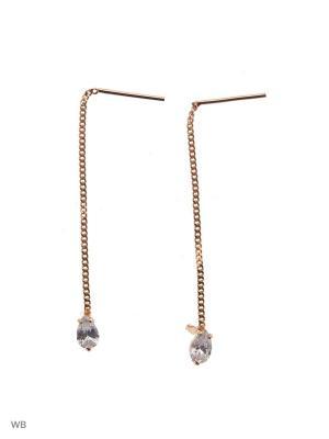 Серьги-цепочки серебряные в позолоте ACCENT jewelry. Цвет: золотистый