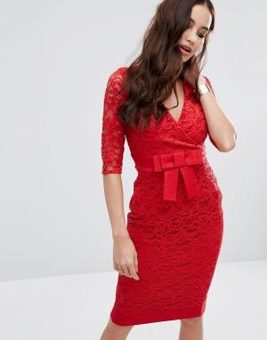 Vesper Кружевное платье-футляр с запахом спереди и бантом на талии. Цвет: красный