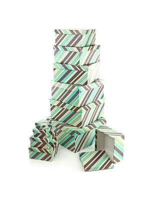 Набор из 11 картонных коробок 5,5*5,5*2,5-25,5*25,5*13см, Полосатое настроение VELD-CO. Цвет: серо-коричневый, светло-зеленый