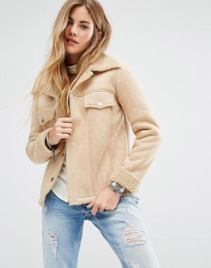 Honey Punch Куртка с отделкой под овечью шерсть. Цвет: кремовый