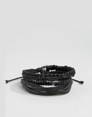 Icon Brand Набор черных кожаных и плетеных браслетов. Цвет: черный