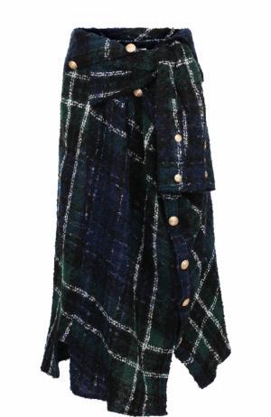 Буклированная юбка-миди асимметричного кроя Faith Connexion. Цвет: темно-зеленый