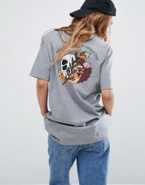 RVCA Свободная футболка бойфренда с черепом на спине. Цвет: серый