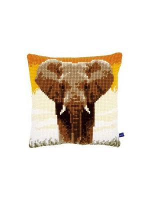 Набор для вышивания лицевой стороны наволочки Слон в саванне 40*40см Vervaco. Цвет: коричневый, белый, желтый, оранжевый
