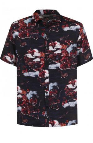 Рубашка из вискозы с короткими рукавами Lanvin. Цвет: бордовый