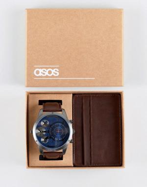 ASOS Подарочный набор с часами и визитницей коричневого цвета. Цвет: коричневый